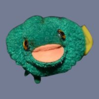 Vintage Steiff Pom Pom Frog W/ Button Tag Miniature