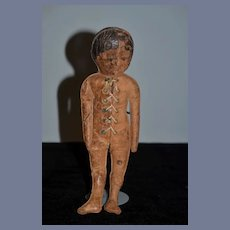 Antique Doll Leather Unusual Character Lace Up