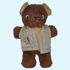 Old Teddy Bear Little Brown Stuffed Bear Googly Eyes