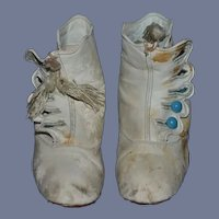 Antique Doll Child Soft Leather Boots Shoes Glass Turquoise Buttons Tassels