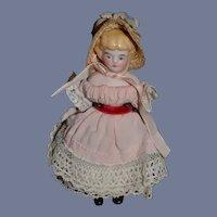 Miniature Blonde Bisque Head Doll
