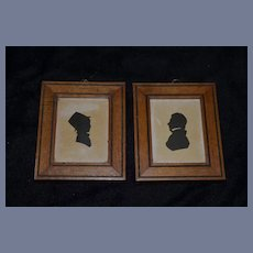 Two Old Miniature Silhouette Portraits Dollhouse
