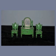Miniature Green Painted Metal Furniture Set