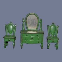 Miniature Green Painted Metal Furniture Set