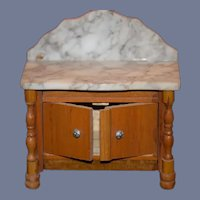 Miniature Marble Counter Wood Cabinet