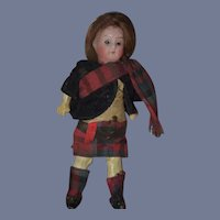 Antique Doll Bisque Head in Original Factory Clothes Sweet Scottish Clothes