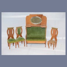 Old Wood & Upholstered Doll Miniature Furniture Sofa W/ Mirror & Chairs Dollhouse