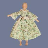 Old Wood Doll Dressed Carved