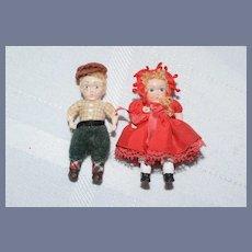 Miniature Painted Wood Sibling Dolls