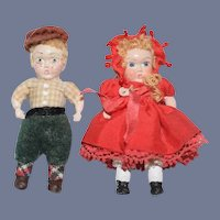 Miniature Painted Wood Sibling Dolls