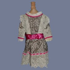 Beautiful Doll Dress W/ Lace and Threaded Ribbon French Market