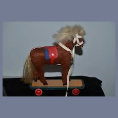 Old Doll Horse Pull Toy on Wood Plank Wood Wheels Petite Size