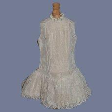 Beautiful White Taffeta and Lace Sleeveless Doll Dress Drop Waist French Market