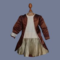 Beautiful White and Green Doll Dress With Brown Silk Jacket