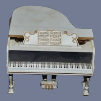 Old White Plastic Piano Dollhouse Miniature