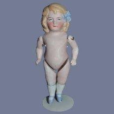 Antique All Bisque Miniature Dollhouse Doll Dress as Maid