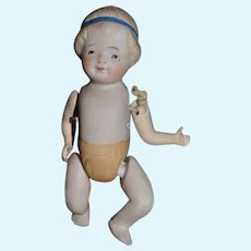 Miniature Nippon Bisque Doll with Jointed Arms and Legs