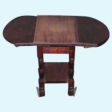 Miniature Foldable Wood Table on Wheels