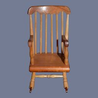 Miniature Wood Rocking Chair Signed