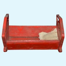 Old Folk Art Wood Doll Cradle Carved Painted Miniature Wonderful Dollhouse