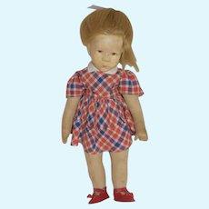 Old Kathe Kruse Doll Cloth Doll Sweet Markings on Foot
