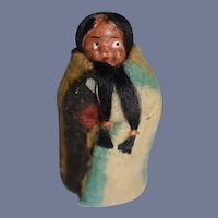 Sweet Old Miniature Skookum Indian Doll Measuring Tape Sewing