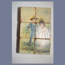 Antique Old Miniature Picture Scenes Wood Blocks Litho Children Victorian Scene Puzzle