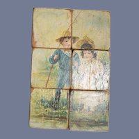 Antique Old Miniature Picture Scenes Wood Blocks Litho Children Victorian Scene Puzzle