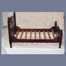 Wonderful  Old Wood Doll Bed W/ Wood Slats Display