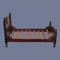 Wonderful  Old Wood Doll Bed W/ Wood Slats Display