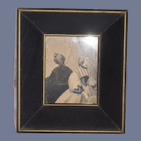 Old Petite Shadow Box Frame W/ Victorian Print of Lady Unusual