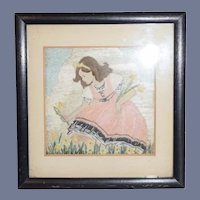 Old Needle Work Petite Picture of young Girl Picking Flowers Needlework Boots Framing