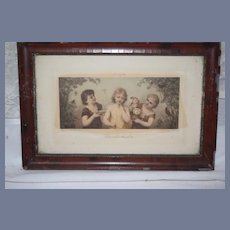 Antique French Wedding Party Three Sequence Framed Prints Wonderful J.H. STRAUSS