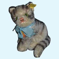 Vintage Steiff Cat Jointed Susi Kitten W/ Tag Mohair