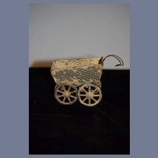 Old Tin Miniature Doll Buggy Carriage Dollhouse