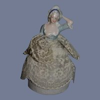Charming Old Half Doll Pincushion Dressed China Head