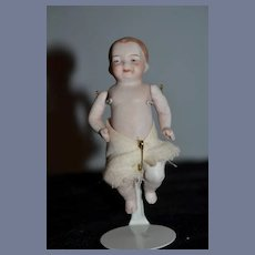 Antique Doll All Bisque Jointed Character Baby Miniature Dollhouse