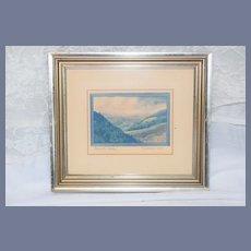 Wonderful Watercolor Painting Roanoke Valley Summer 1969 Signed Framed