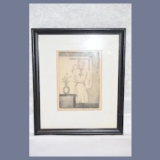 Vintage Signed Numbered Drawing Louis Berman 74 Girl with Doll Framed