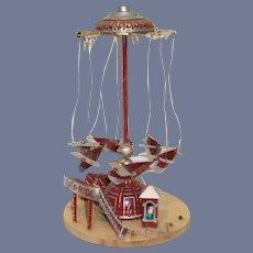 Wonderful Old Tin Folk Art  Carousel Airplane Mechanical Tin Miniature Carnival Ride Doll Miniature