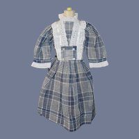 Vintage Doll Dress Plaid Sweet Lace