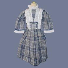 Vintage Doll Dress Plaid Sweet Lace