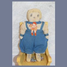 Old Doll Sweet Cloth Doll Sewn on Features Dressed Rag Doll