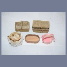 Vintage Miniature Doll Basket Set Some Artist Dollhouse