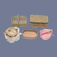 Vintage Miniature Doll Basket Set Some Artist Dollhouse
