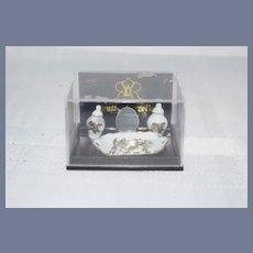Vintage Miniature Reutter Porcelain Vanity Set in Original Box Doll Dollhouse