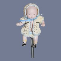 Antique Doll Miniature All Bisque Character Jointed Baby