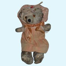 Old Mohair Jointed Teddy Bear Dressed Adorable Sweet Size Glass Eyes