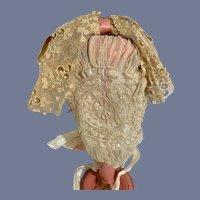 Antique Lace Doll Bonnet W/ Floppy Bow French Market