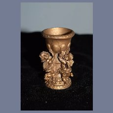 Sweet Miniature Vintage Metal Urn Vase with Cherubs Dollhouse